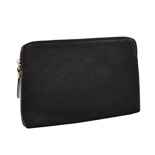 SORRENTO- Black Structured Saffiano Clutch - BeltNBags