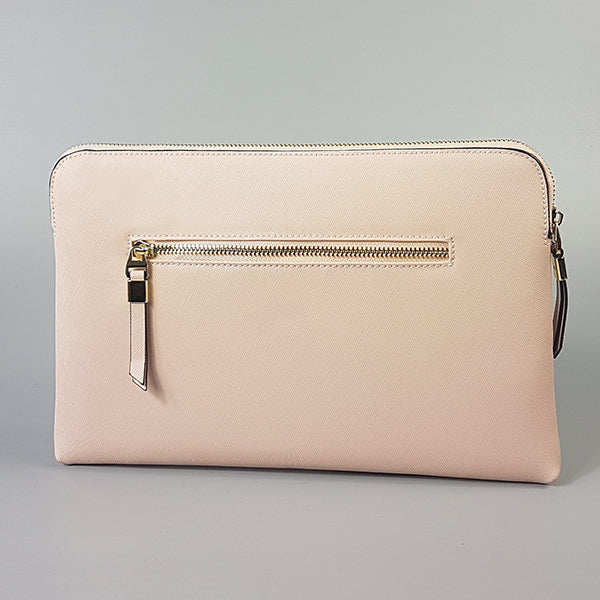 SORRENTO- Blush Structured Saffiano Clutch