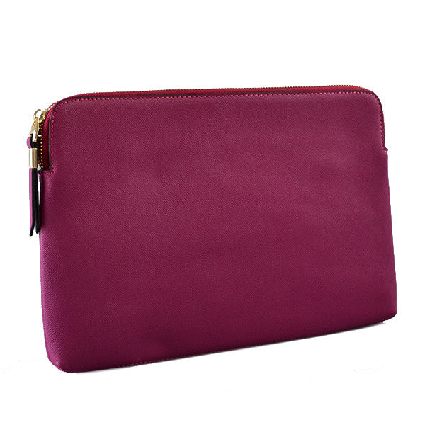 SORRENTO- Magenta Structured Saffiano Clutch - BeltNBags