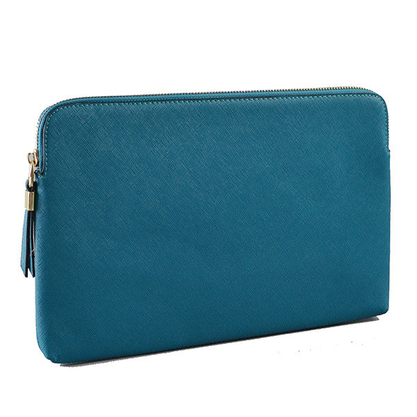 SORRENTO- Peacock Structured Saffiano Clutch
