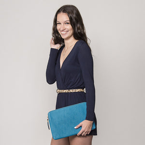 SORRENTO- Peacock Structured Saffiano Clutch  - Belt N Bags