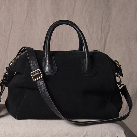 ST IVES - Black Genuine Suede Leather Handbag