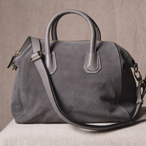 ST IVES - Grey Genuine Suede Leather Handbag