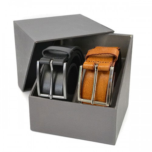 STAVROS - Mens Genuine Leather Twin Belt Gift Pack