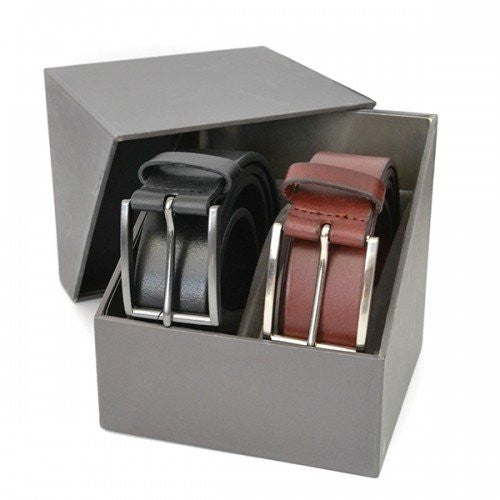 STAVROS - Mens Leather Twin Belt Gift Pack-Mens Belt, Gift Pack-BeltNBags-BeltNBags