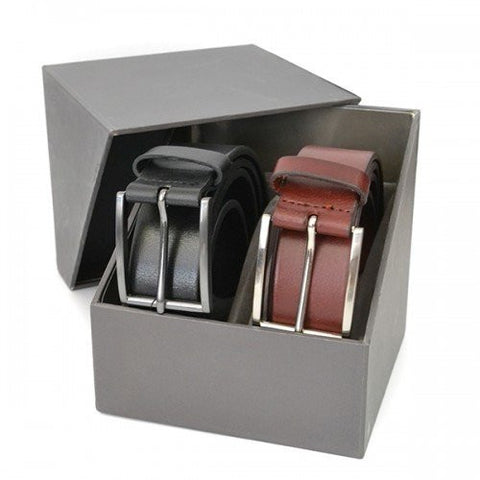 STAVROS - Mens Leather Twin Belt Gift Pack