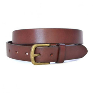 TOBEN - Mens Dark Tan Leather Dress Belt - BeltNBags