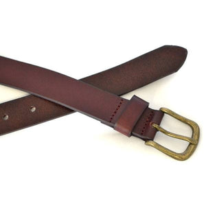 TOBEN - Mens Dark Tan Leather Dress Belt-Mens Belt-BeltNBags-BeltNBags