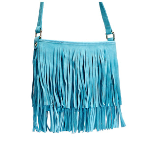 MOSMAN-Addison Road Suede Boho Tassel Bag - Mint - BeltNBags