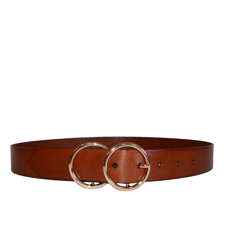 TOWNSVILLE - Womens Tan Double Ring Leather Belt  - Belt N Bags