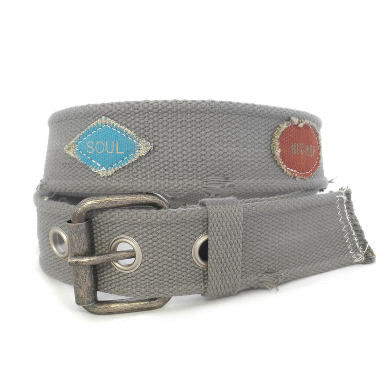 TYLER - Mens Grey Canvas Belt-Mens Belt-BeltNBags-BeltNBags