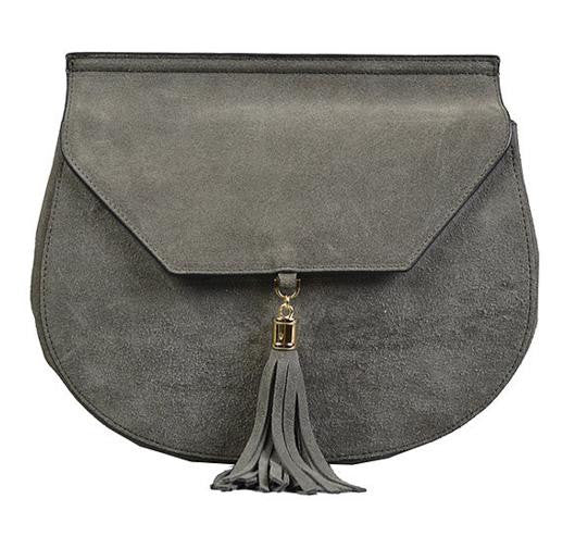 Tamarama - Addison Road- Grey Divine Structured Suede Saddle Bag - BeltNBags