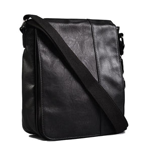 Tatum - Mens Black Faux Leather Messenger Reporter Thin Side Bag