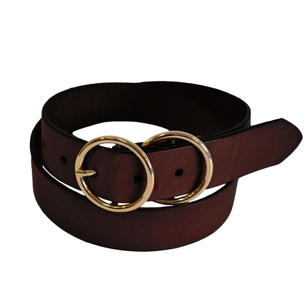 TOWNSVILLE - Womens Dark Brown Double Ring Leather Belt  - Belt N Bags