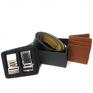 TROY - Mens Leather Reversible Black and Tan Belt and Wallet Gift Box  - Belt N Bags