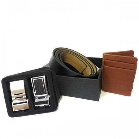 TROY - Mens Black & Tan Belt  & Wallet Gift Box