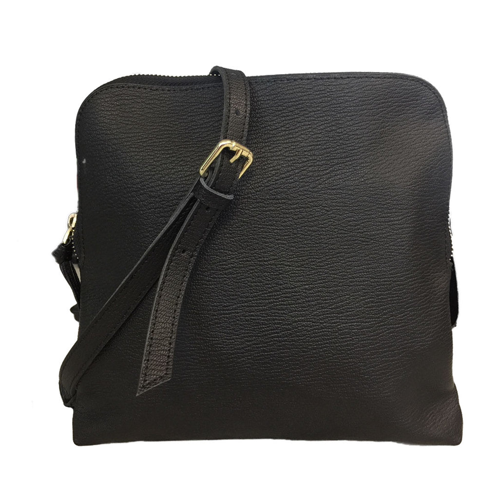 TUSCANY -  Ladies Black Leather Crossbody Shoulder Bag with Gold Hardware  - Belt N Bags