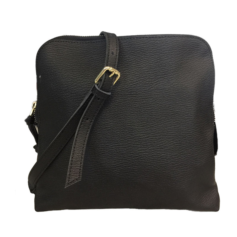 TUSCANY -  Ladies Black Leather Crossbody Shoulder Bag with Gold Hardware