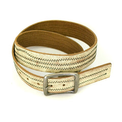 VINCE - Mens Cream & Taupe Leather Belt
