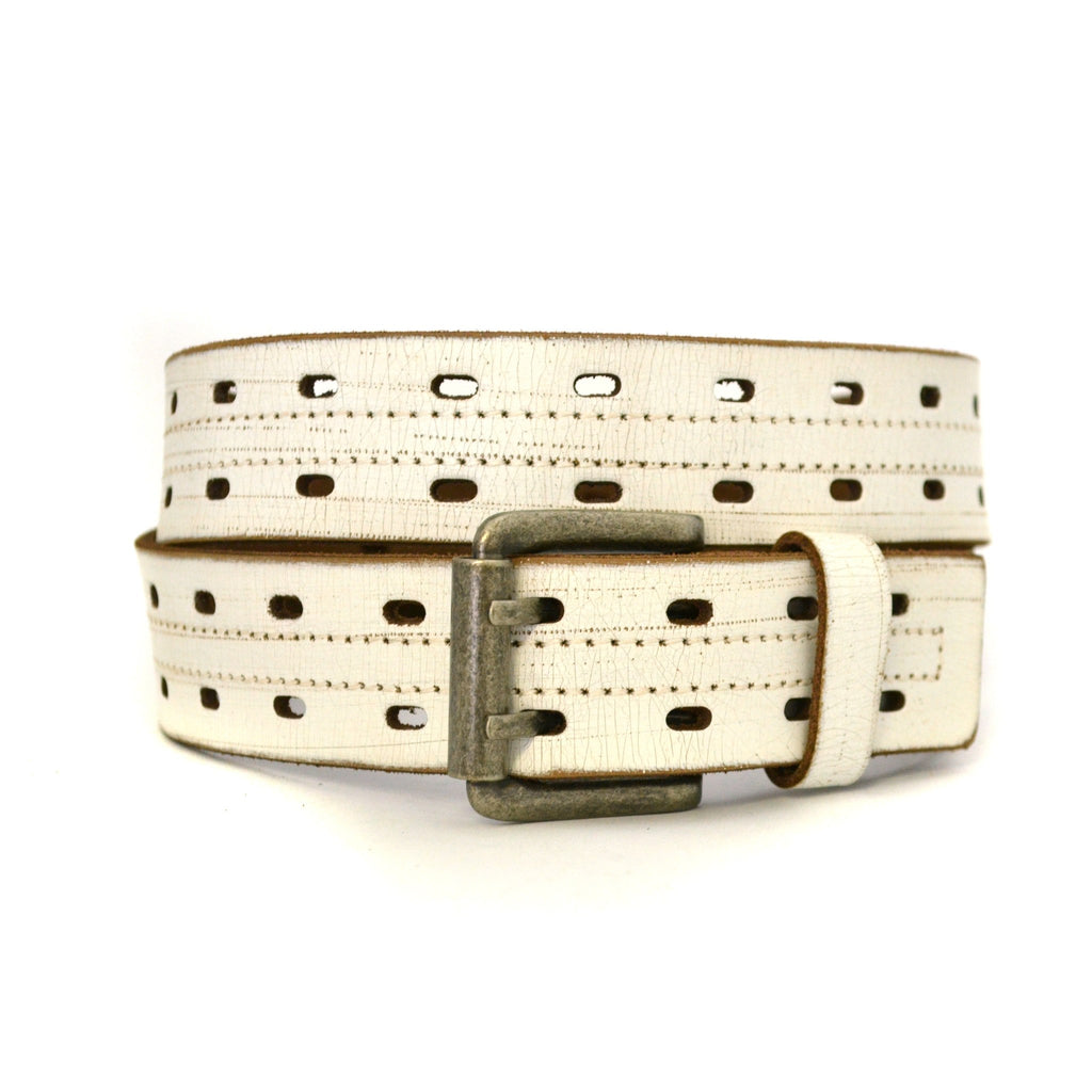 WADE - Mens Cream & Sand Leather Belt - CLEARANCE  - Belt N Bags