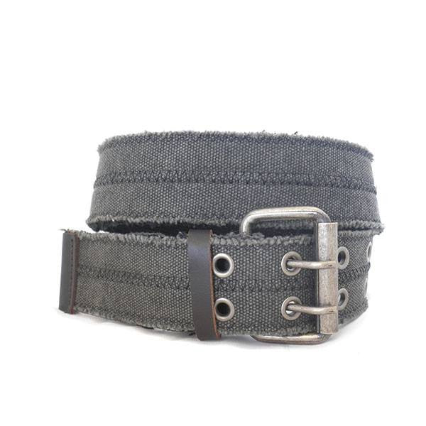 WILLIAM - Mens Charcoal Webbing Belt with Silver Buckle-Mens Belt-BeltNBags-BeltNBags