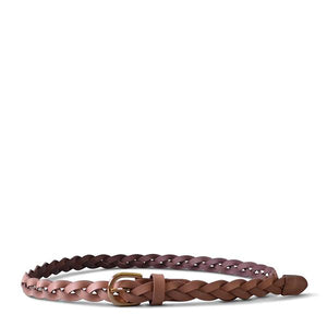 WAVERLY - Womens Blush Pink Skinny Leather Plaited Belt with Gold Buckle  - Belt N Bags