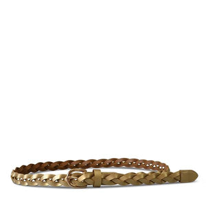 WAVERLY - Womens Gold Skinny Leather Plaited Belt with Gold Buckle  - Belt N Bags