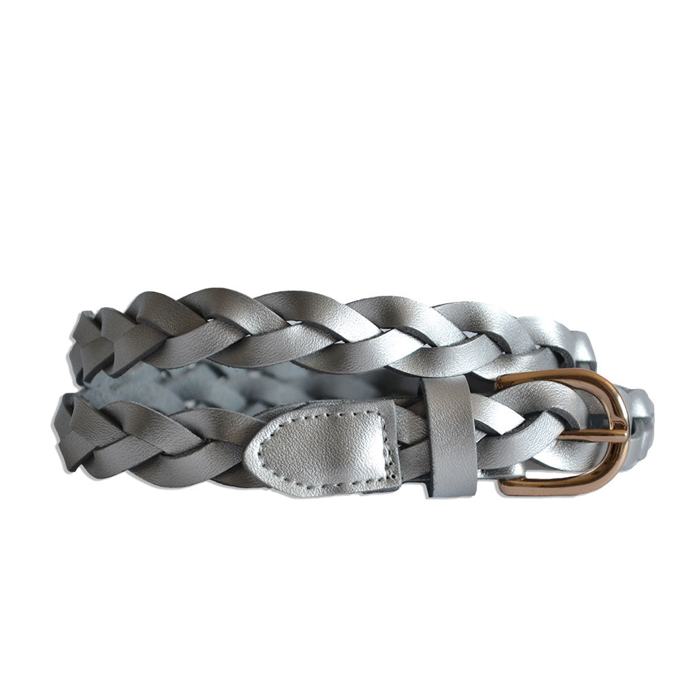WAVERLY - Silver Skinny Leather Plaited Belt with Gold Buckle
