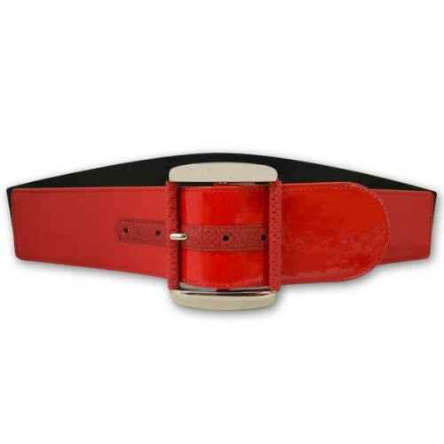 WHITNEY - Women's Red Faux Leather Belt - BeltNBags