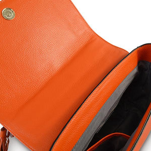 Yamba - Ladies Embroidered Orange Leather Structured Crossbody Bag - CLEARANCE  - Belt N Bags
