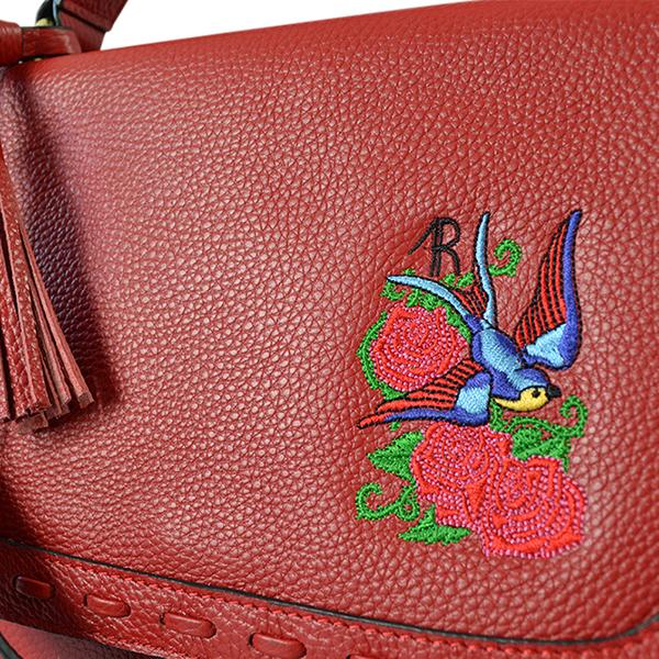 YAMBA- Addison Road Embroidered Red Pebbled Leather Structured Bag- CLEARANCE  - Belt N Bags
