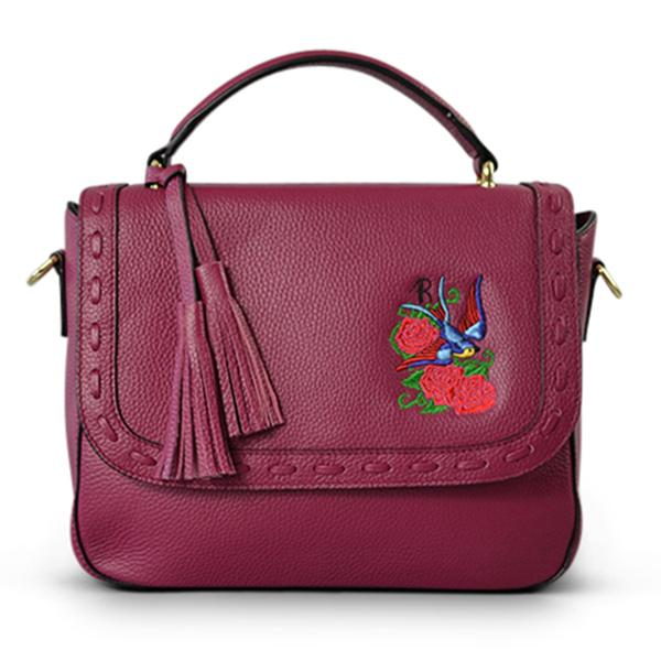 YAMBA- Addison Road Embroidered Magenta Pebbled Leather Structured Bag - CLEARANCE  - Belt N Bags