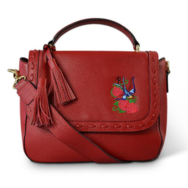 YAMBA- Addison Road Embroidered Red Pebbled Leather Structured Bag  - Belt N Bags