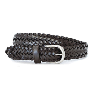 ZAREH - Womens Dark Brown Plaited Leather Belt with Silver Buckle - BeltNBags