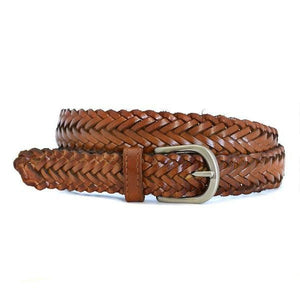 ZAREH - Womens Tan Brown Plaited Leather Belt with Silver Buckle - BeltNBags
