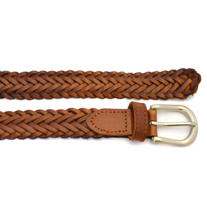 ZAREH - Womens Tan Brown Plaited Leather Belt - BeltNBags
