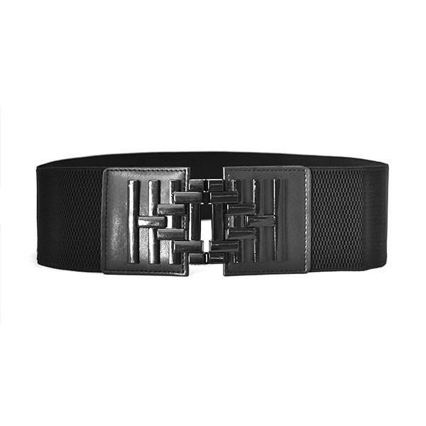 ZENA - Womens Black Elastic Stretch Cinch Waist Belt - BeltNBags
