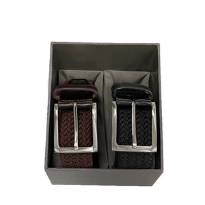 ALEC - Mens Brown and Black Woven Elastic Stretch Belt Gift Pack