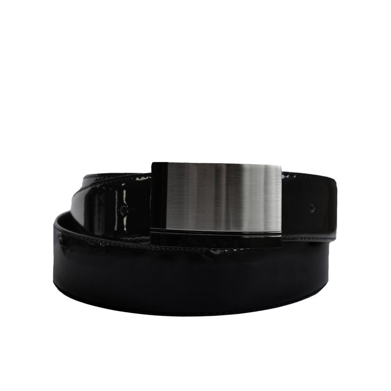 BEN- Men's Black Patent Genuine Leather Belt with Shield Buckle  - Belt N Bags