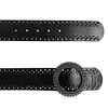 LILYDALE - Women's Black Genuine Leather Belt with Round Silver buckle