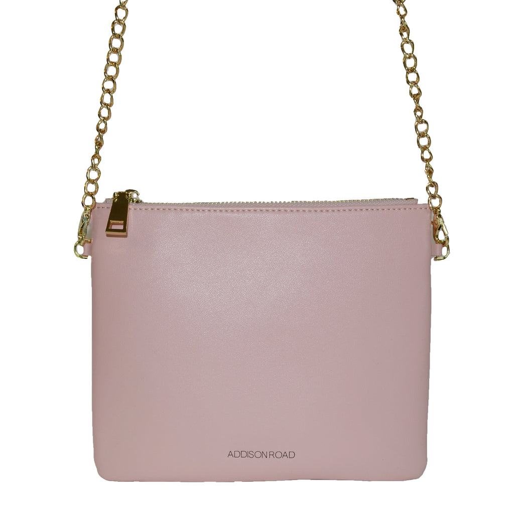 BYRON-  Blush Leather Wristlet Crossbody Clutch Bag