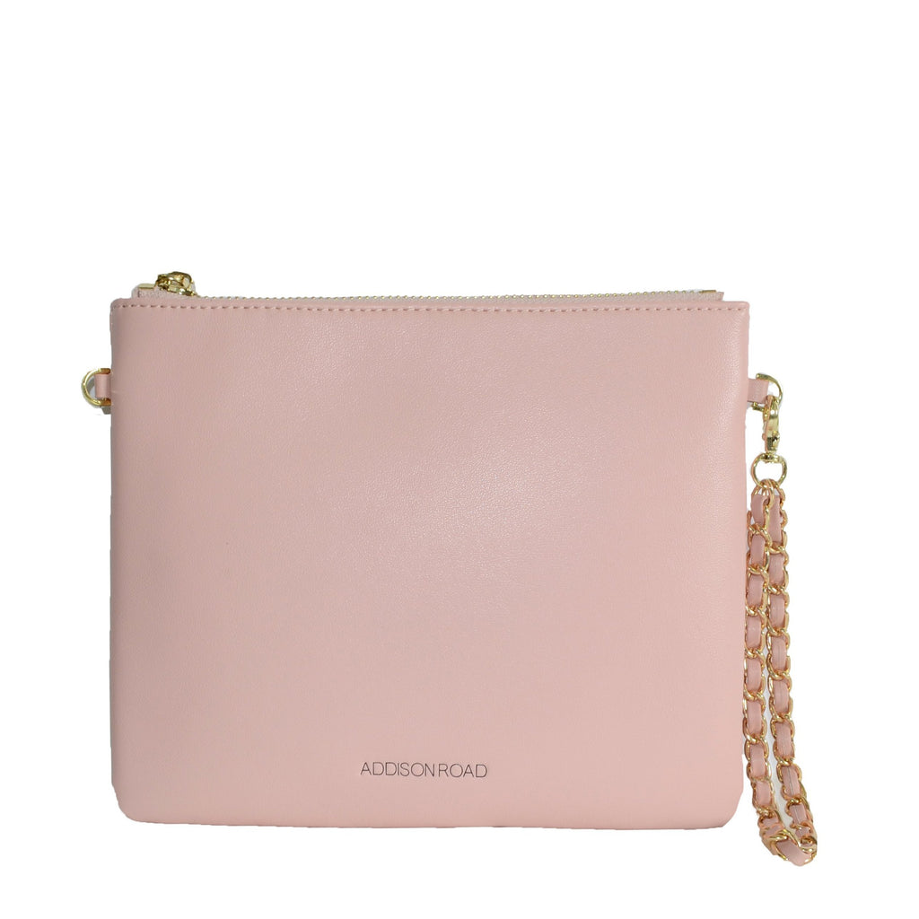 BYRON-  Blush Leather Wristlet Crossbody Clutch Bag - BeltNBags