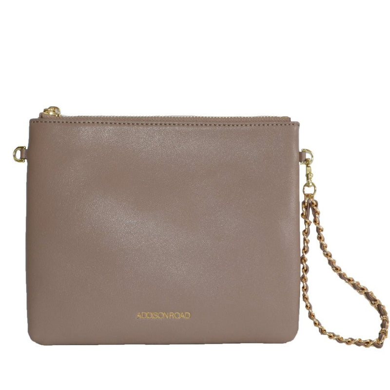 BYRON-  Taupe Leather Wristlet Crossbody Clutch Bag - BeltNBags