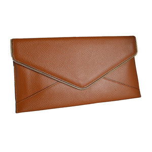 CASTLECRAG - Brown Genuine Pebbled Leather Clutch with Zipper Detailing - Belt N Bags