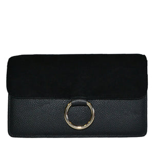 COBURG - Black Addison Road Pebbled Leather & Suede Crossbody  - Belt N Bags