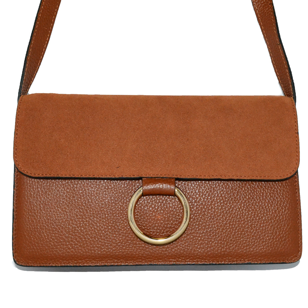 COBURG - Addison Road Pebbled Leather & Suede Crossbody - Belt N Bags