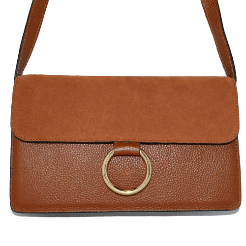 COBURG - Addison Road Tan Pebbled Leather & Suede Crossbody - Addison Road