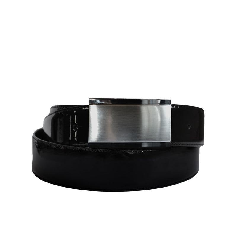 DAN- Men's Black Patent Genuine Leather Belt with Shield Buckle  - Belt N Bags