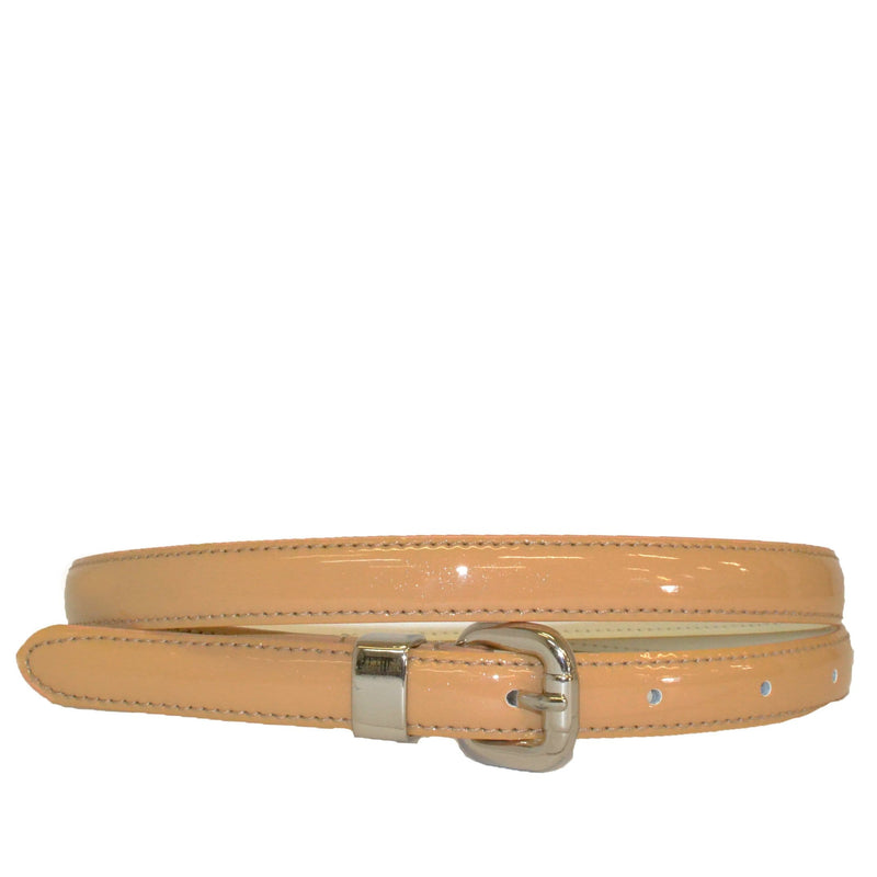 CARRIE - Shimmery Light Brown Patent Genuine Leather Belt - Belt N Bags