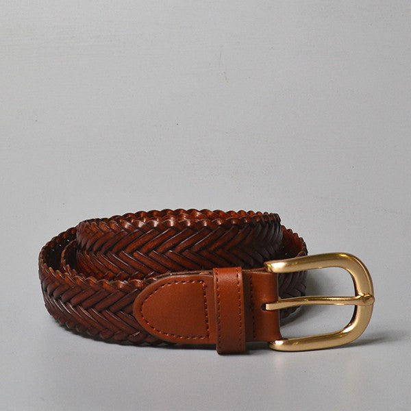 ERSKINVILLE- Addison Road Tan Plaited Leather Belt with Gold Buckle - Belt N Bags